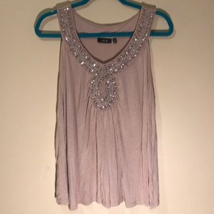 Pink APT. 9 tank top size 1X with sequins & beads